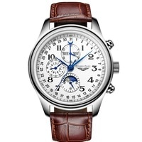Механические Мужские часы GUANQIN, автоматические сапфировые водонепроницаемые наручные часы с календарем и кожаным ремешком