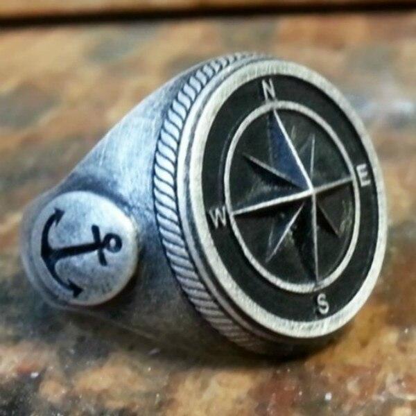 Anillo de ancla vikinga Vintage para hombres de estilo europeo y americano, anillo con brújula Punk, anillo de joyería de Caballero de la Marina