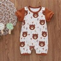 summer jumpsuit unisex infant newborn baby casual clothes round neck short sleeve cartoon bear printing short romper 0 18m