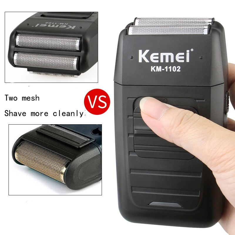 Kemei KM-1102 Rechargeable Cordless Shaver for Men Twin Blade Reciprocating Beard Razor Face Care Multifunction Strong Trimmer enlarge