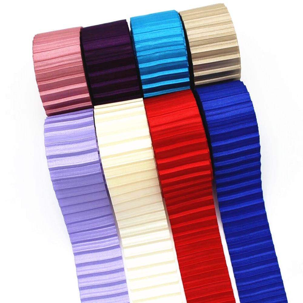 Nuevo 1-1/2 38mm plisado cinta de encaje 10 yardas DIY hecho a mano material lazo de pelo doble color falda dobladillo