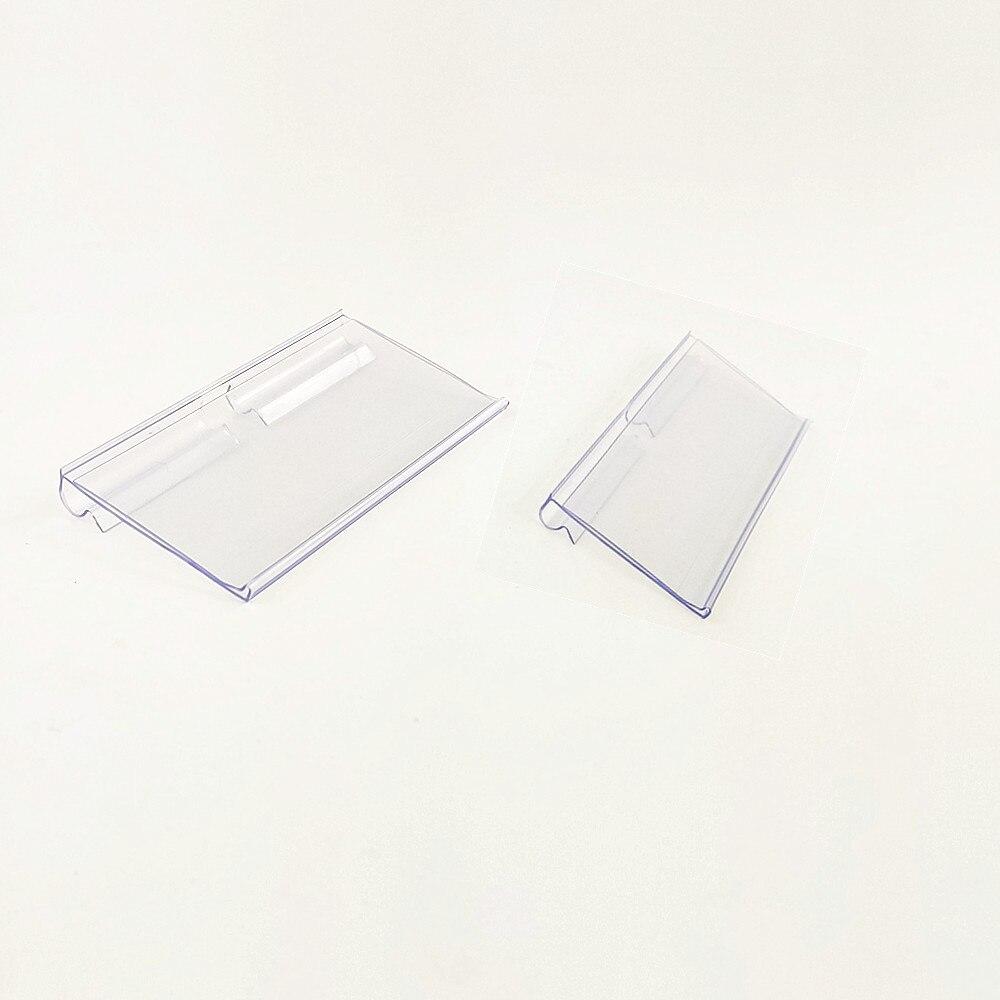 H2.8cm Plastic Shelf Hook Holder Price Tag Sign Label Display Transparent PVC for Supermarket Wire Rack Promotions 100pcs