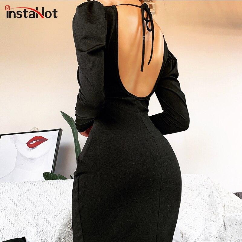 InstaHot Sexy Black Backless Dress Halter Bandage Ladies Puff Long Sleeve Slim Pencil Mini Dress Autumn Casual Streetwear Dress