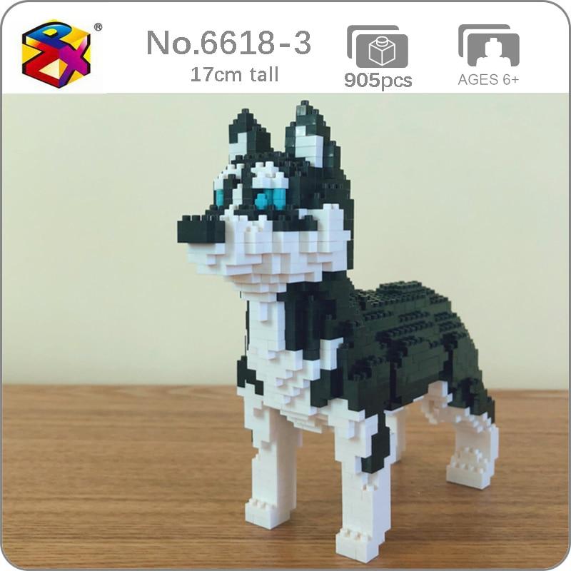 Bs 6618-3 husky siberiano cão animal de estimação modelo 3d 905 pçs diy pequeno mini blocos de diamante tijolos brinquedo de construção para crianças sem caixa