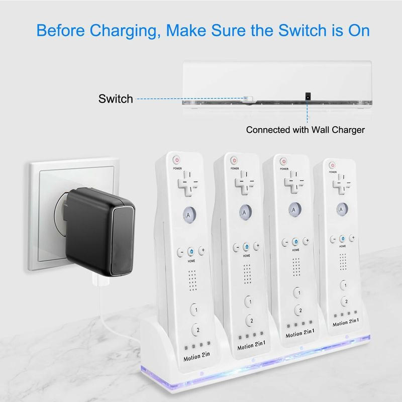 2 / 4 Packs Of Rechargeable Batteries Charger Dock Widely Compatible With The Remotes For Nintendo Wii Controller enlarge