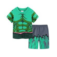 New Summer Short Sleeve Children Pyjama Boys Pajama Set Kids Set Pijama Suit Hulk Cartoon 2-7t
