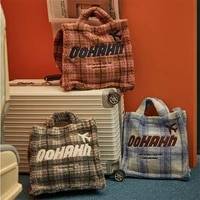 designer plaid faux fur shoulder bag fashion soft plush tote women handbag korean style lambswool crossbody bags for women 2021