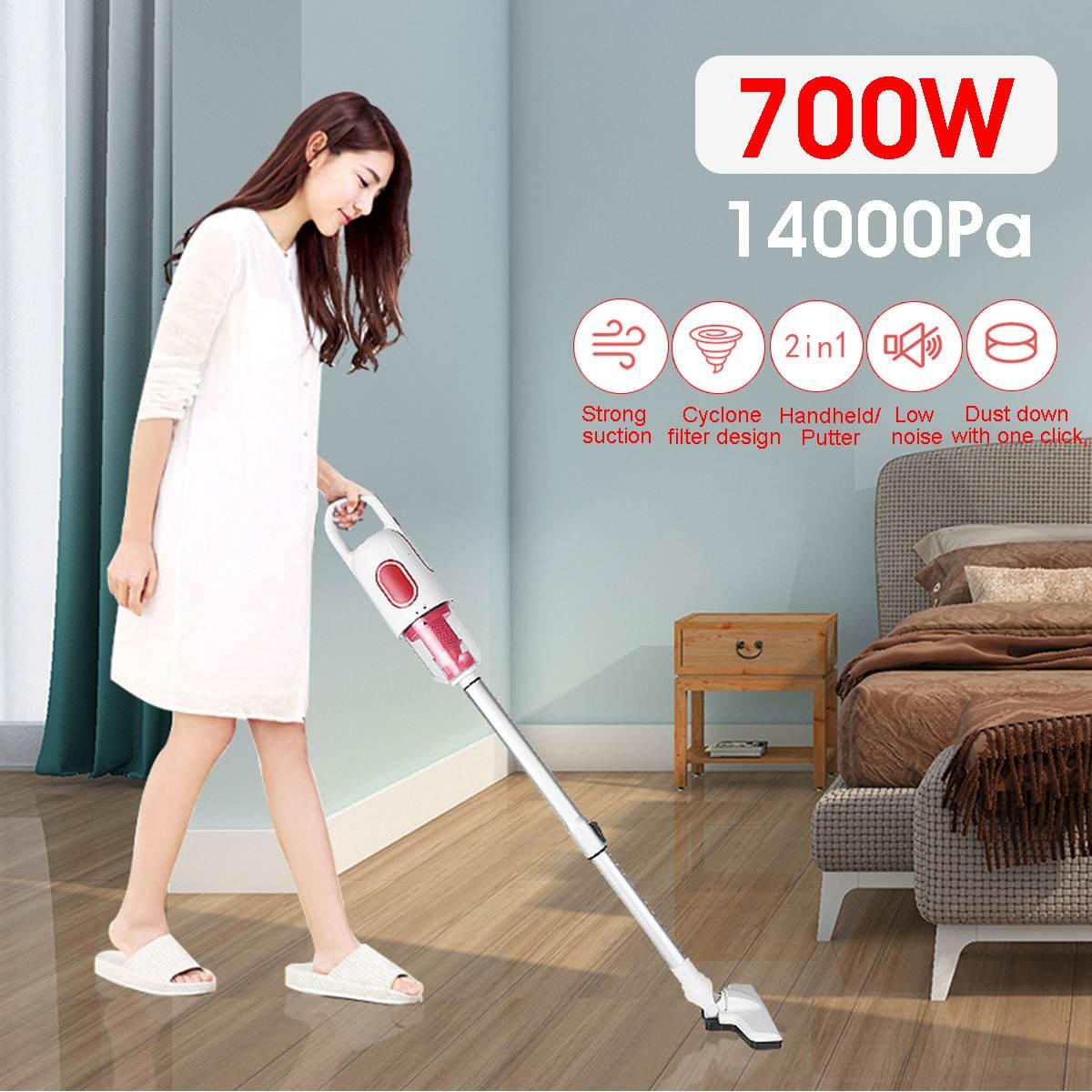 Becornce 700 واط 14000Pa 2 في 1 يد مكنسة كهربائية المنزل تنظيف قوي شفط مجمع الغبار تمديد المحمولة قضيب