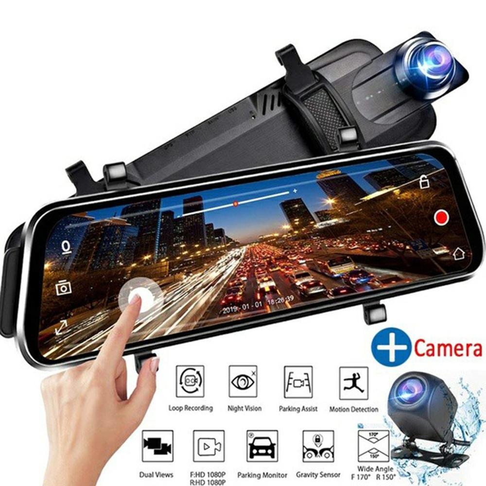 V21 Streaming espejo retrovisor para coche alta definición 1080P cámara de salpicadero coche espejo Dvr grabadora cámara de visión trasera