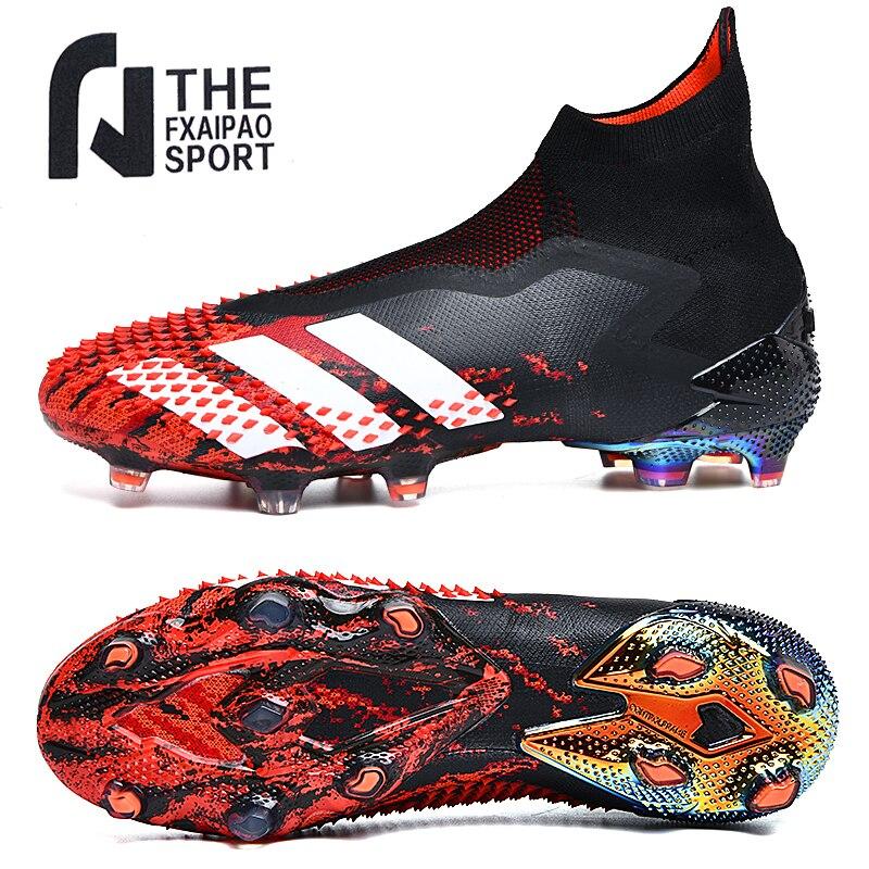 Размер 35-45 Мужская футбольная обувь высокие лодыжки дышащие кроссовки для подростков Детские тренировочные футбольные бутсы FG / TF Нескольз...