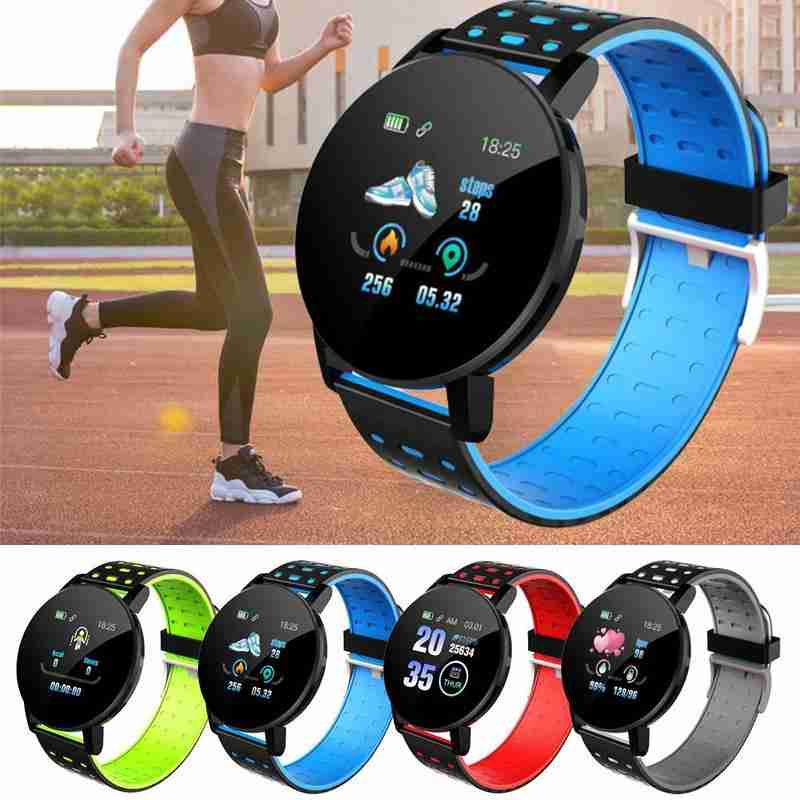 119plus Smart Watch Dual Color Strap Waterproof Heart Rate Blood Pressure Measurement Step Counter Smart Bracelet