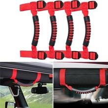 4Pcs/Set Unlimited Roll Bar Grab Handles Thin Holder Premium Armrests Handle For Jeep Wrangler JK Rubicon 1955-2018(Red,Black)