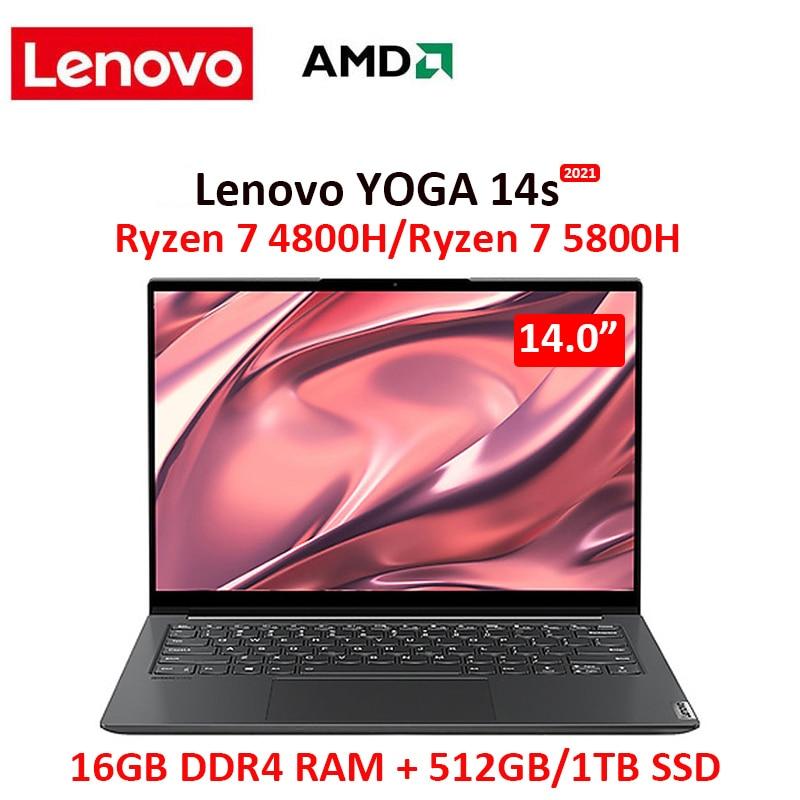 Promo lenovo YOGA 14s 2021 laptop Ryzen 7 4800H/5800H 16GB RAM 512GB/1TB NVMe SSD 14 inch FHD IPS screen Notebook computer Ultrabook