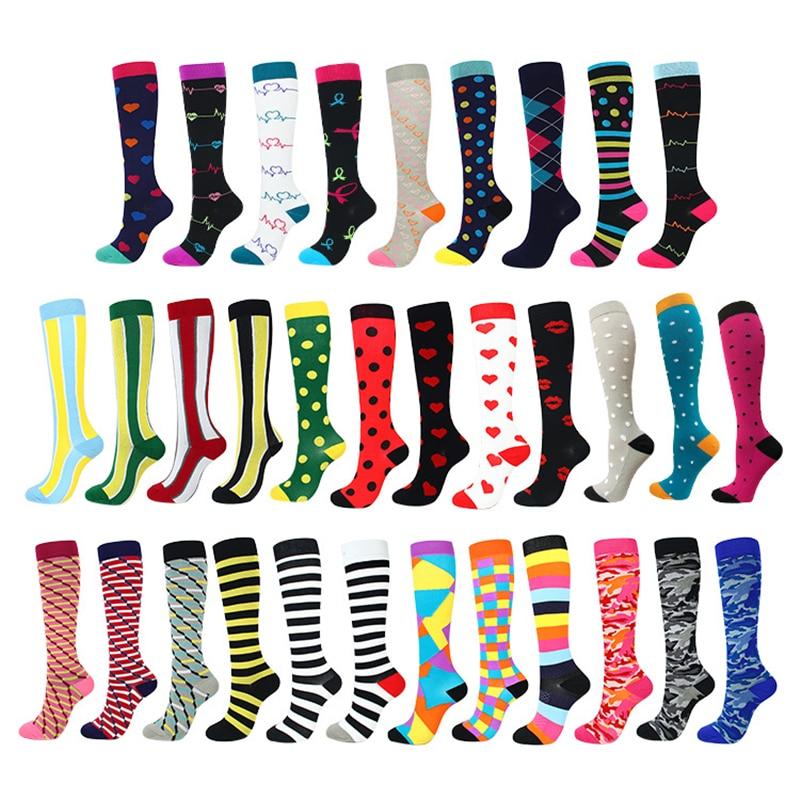 Носки до колен для бега, мужские, женские, мужские забавные носки для марафона, велосипедные компрессионные чулки для варикозного расширени...