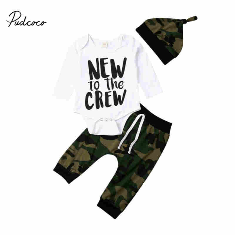 Pudcoco Camo ropa para recién nacidos bebé niño traje de camuflaje tops con letra impresa mameluco de manga larga + polainas pantalones + sombrero