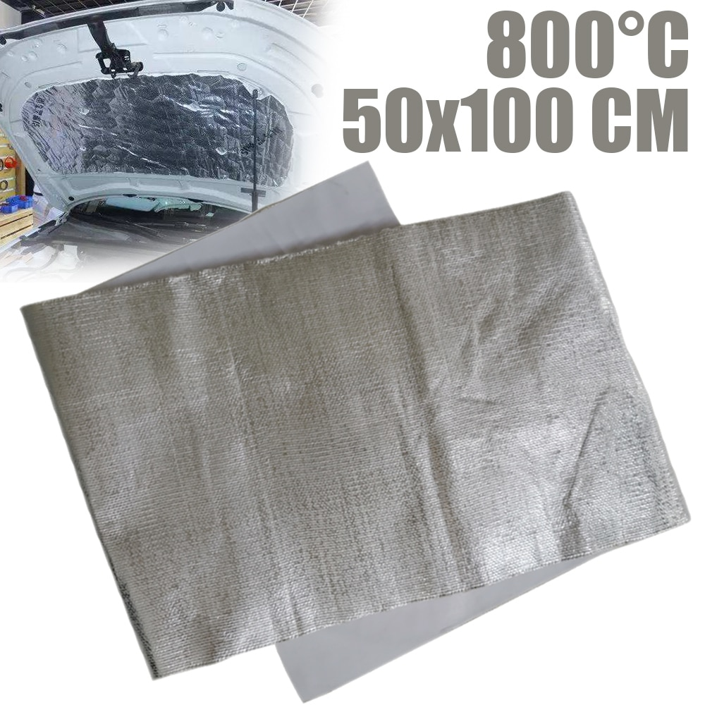 100*50cm Car Motorcycle Exhaust Wrap Pipe Refit Thermal Insulation Band Exhaust Heat Wrap Wear-Resistant Heat Shield Tape radiation insulation and moisture proof heat exchanger and waterproof air conditioner tube heat pipe insulation tape