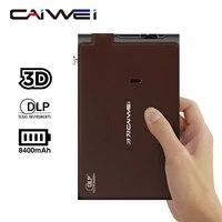 Mini projecteur Dlp WiFi sans fil Hd 3D  pour Home cinema  batterie 8400mAh  miroir decran pour ordinateur portable et smartphone