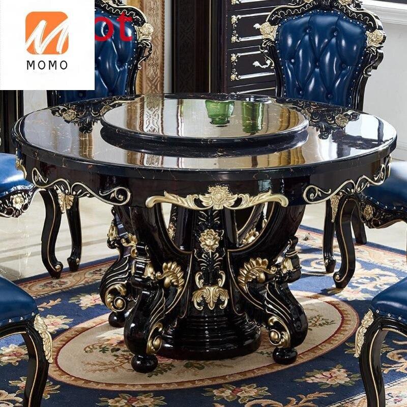 فاخر طاولة طعام خشب متين كبير مستدير طاولة رخام طاولة طعام طاولات وكراسي مجموعة منحوتة