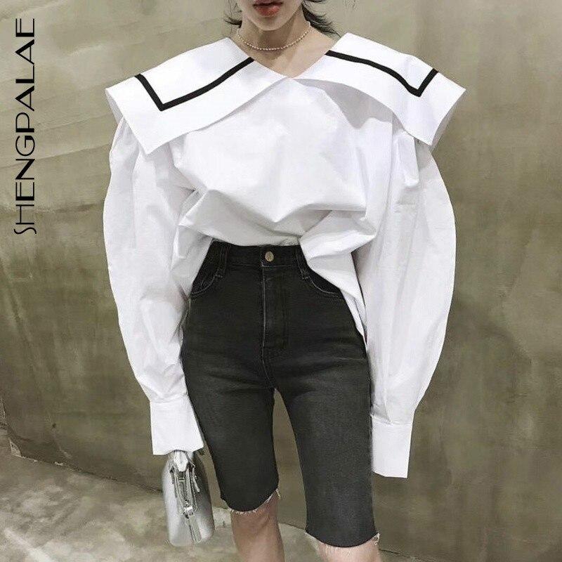 SHENGPALAE 2020 Casual Solid White Women Shirt Big Lapel Striped Print Puff Sleeve Loose Slim Female Top Clothing Fashion ZA3257