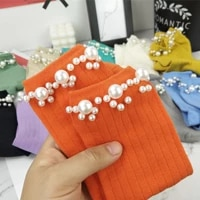 new product heavy nails white pearls socks womens kawaii japanese vertical striped cotton female socks fashion maiden socks