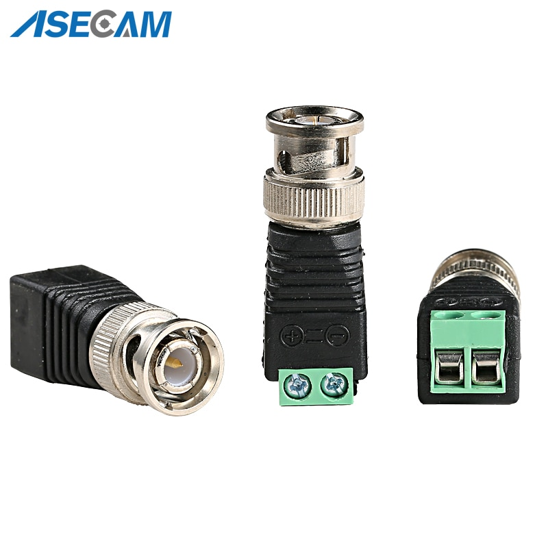 BNC Video Balun Connector Plug Adapter Mini Coax CAT5 To Security Camera For CCTV System Accessories Free shipping enlarge