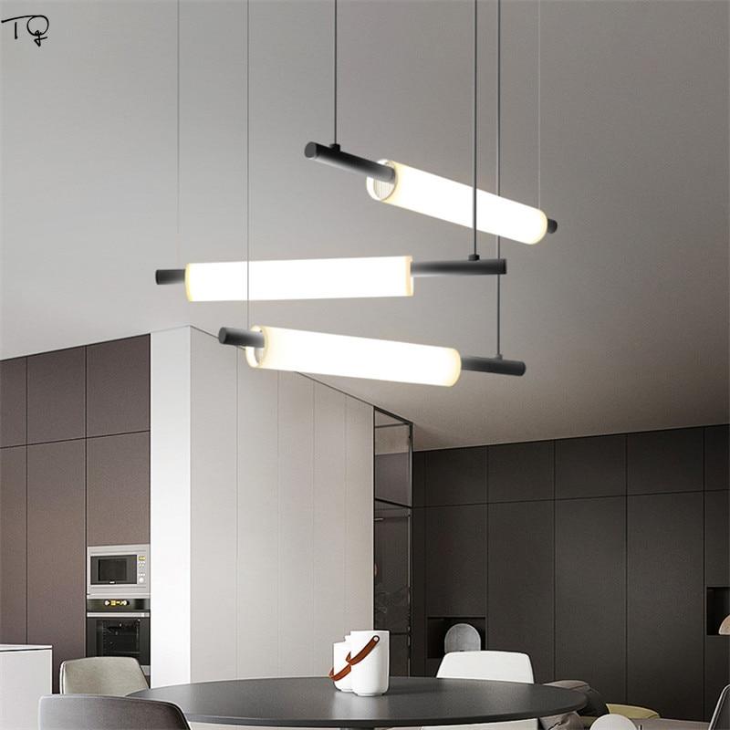 Nordic Simple Water Pipe Lamp Acrylic Led Long Pendant Lights Study Modern Atmosphere Hanging Light Restaurant Bar Parlor Studio