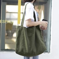 light weight solid color simple large capacity canvas bag for women new shoulder shopping bags female casual retro tote handbags