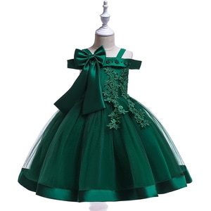 Short Red Green Christmas Party Dress Kids Ball Gown Girls Dresses Flower Lace Applique Girls Wedding Gown Prom
