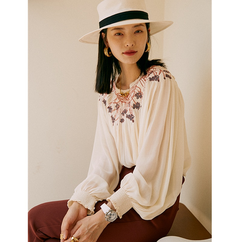 Top women 100% silk translucent fabric embroidery o neck long lantern sleeves ladies casual t-shirt new fashion