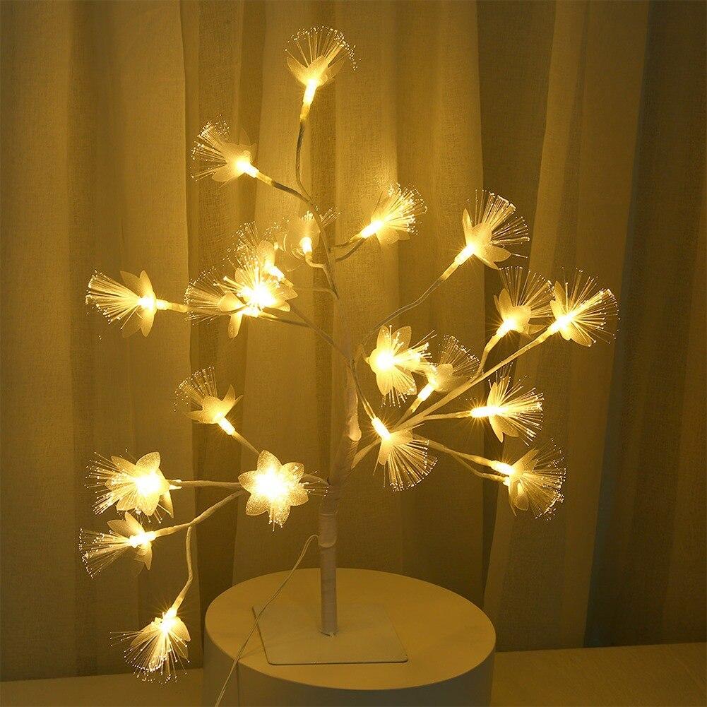 24 مصباح LED من الألياف البصرية فرع شجرة ، مقبس الاتحاد الأوروبي ، 220 فولت ، ضوء ليلي للديكور الداخلي ، مكتب ، غرفة نوم ، ضوء ليلي