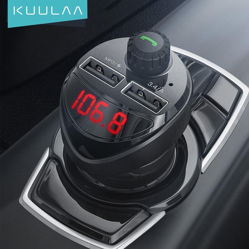 KUULAA Car Charger FM Transmitter Bluetooth Car Audio MP3 Player TF Card Car Kit 3.4A Dual USB Car P