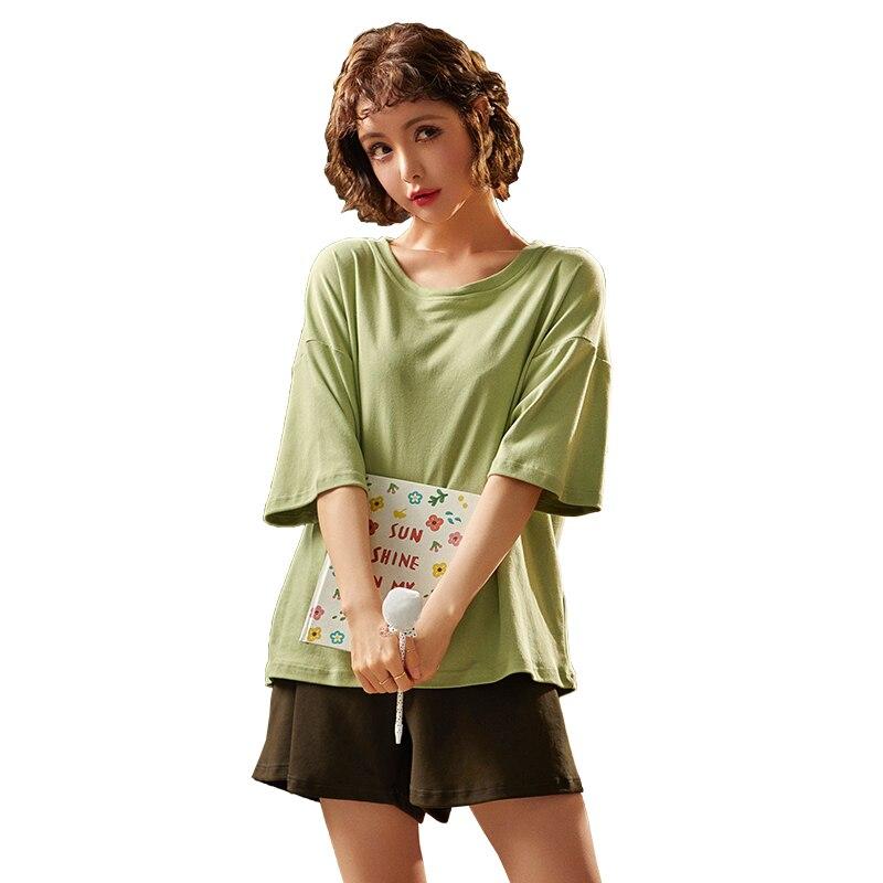 nanjiren-натуральный-хлопок-Пижама-женская-футболка-с-коротким-рукавом-для-девочки-летняя-детская-юбка-штаны-для-девочек-хлопковые-повседнев
