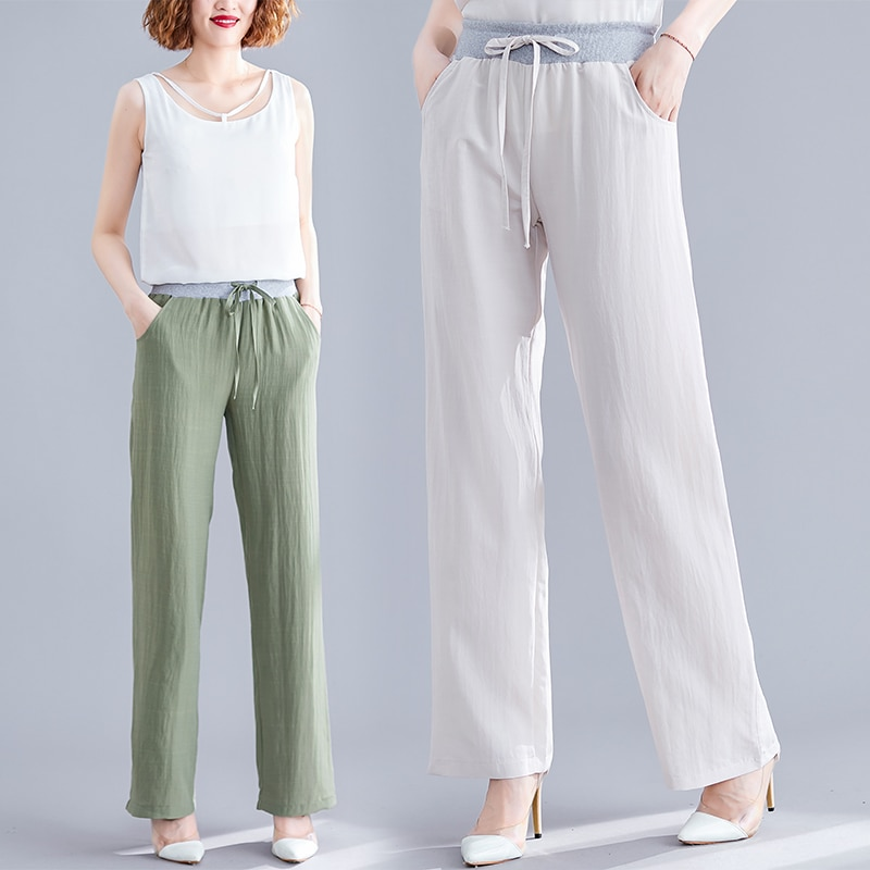 Women's Cotton and Linen Wide-Leg Pants Summer Artistic Loose plus Size Slimming High Waist Straight