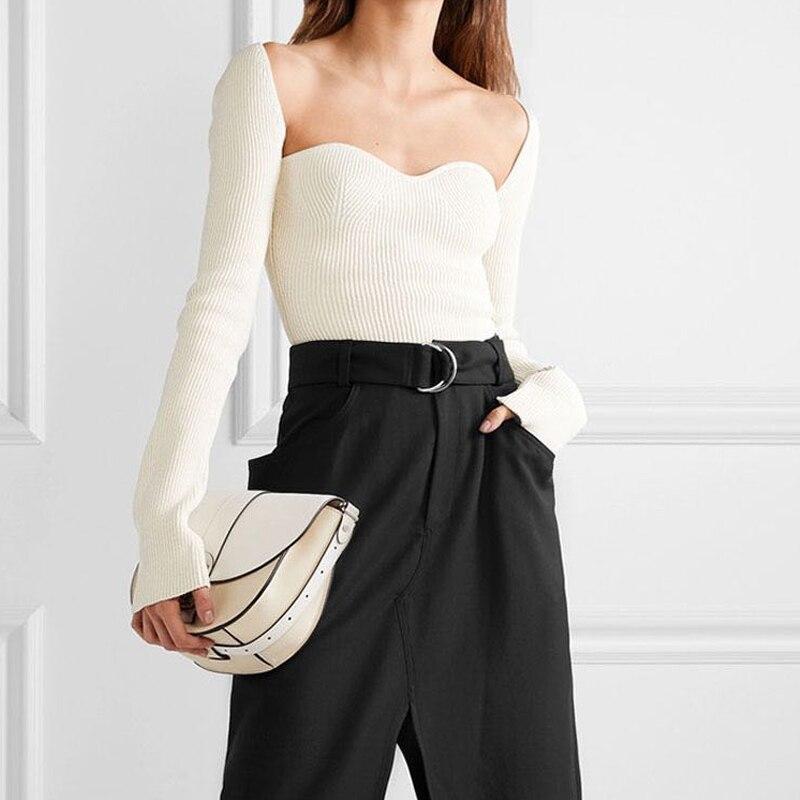 2020 Nieuwe Vrouwen Herfst Sexy Vierkante Kraag Gebreide T Shirts Pure Kleur Vrouwen Lange Mouwen Slim T-shirt Tops Voor vrouwen Witte Tees