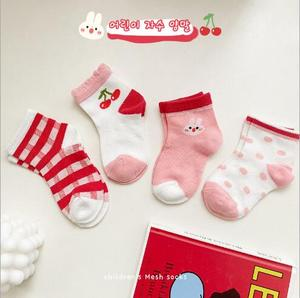1-12 Year 4Pairs/Lot Spring and summer new striped fashion socks combed cotton children's mesh socks