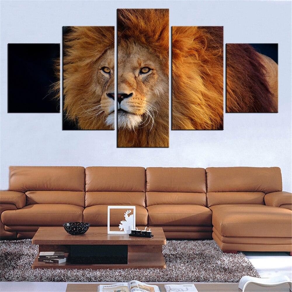 5 шт. панелей современный холст cool_lion картина настенное искусство картина для украшения дома печать Жикле искусство для украшения стен