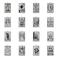 5pcs stainless steel tarot card pendants charms good luck amulet the major arcana charm for diy necklace dangle jewelry making
