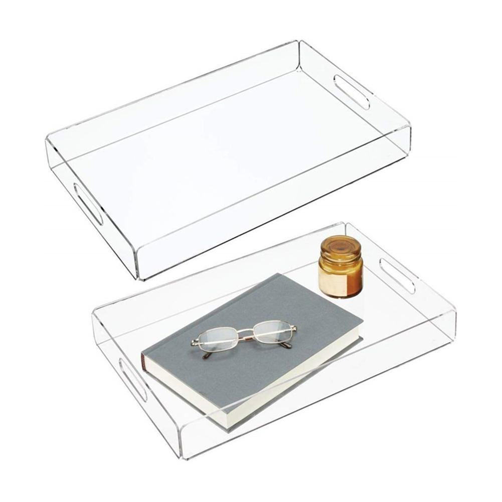 Nordic Clear  Storage Tray Gold Rectangle Glass Makeup Organizer Acrylic Vintage Plate for Dessert Jewelry Display Home Decor