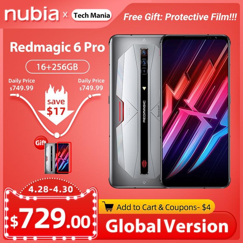 Новая глобальная версия Nubia красный Магия 6 Pro игровой смартфон 6,8 дюйм amoled Snapdragon 888 Octa Core 30 Вт Быстрая зарядка рамка RedMagic 6 Pro