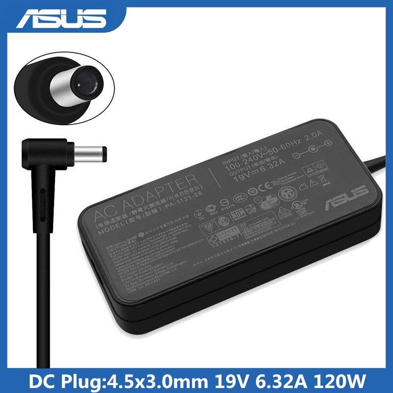 19V 6.32A 4,5x3,0 мм со штифтовым соединением, с 120W AC адаптер для питания ноутбука Зарядное устройство для Asus FX50J N56VA550J YX570U YX570ZD UX501J G60VW G501JW