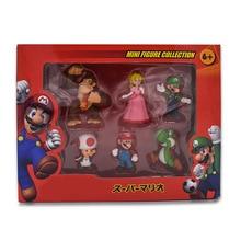 6 Teile/satz Luigi Bros Figur PVC Action Figur Spielzeug Yoshi Pfirsich Daisy Kröte Prinzessin Pilz Shy Guy Odyssey Modell Cartoon puppen