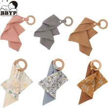 1pc Baby Bibs Saliva Towel with Wooden Teether Newborn Solid Color Snap Button Soft Absorbent Towel