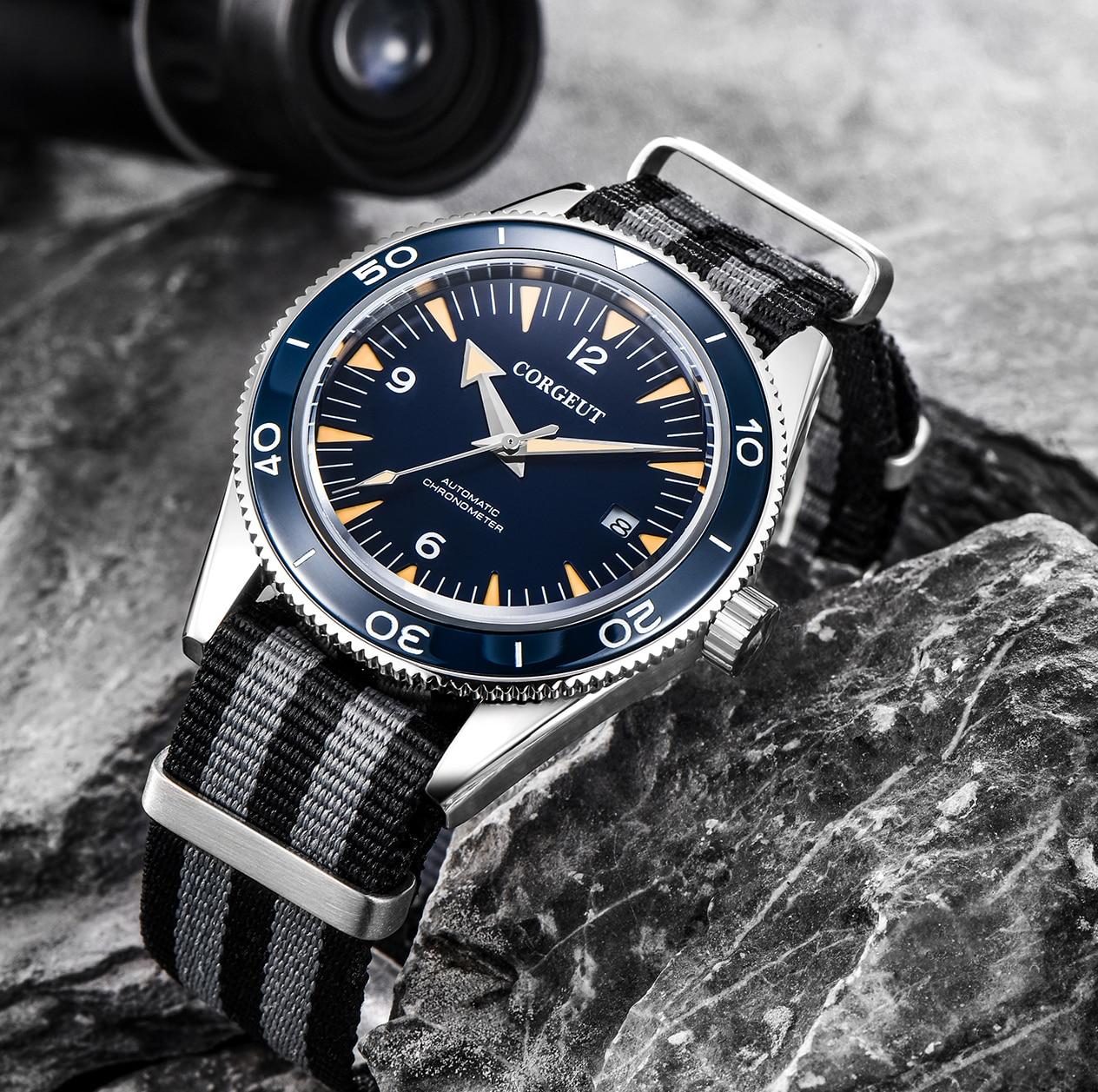 Corgeut 41mm sterile dial date Miyota 8215 automatic mens mechanical wristwatch waterproof luminous sapphire glass nylon belt