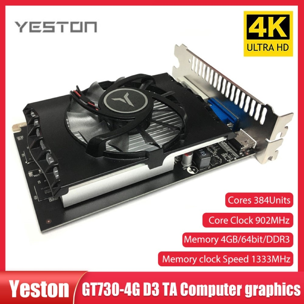 Yeston GT730 4G DDR3 بطاقة جرافيكس Nvidia Pascal 902-1333MHz 4G/DDR3/64bit HD + VGA + DVI منافذ لتشغيل الألعاب