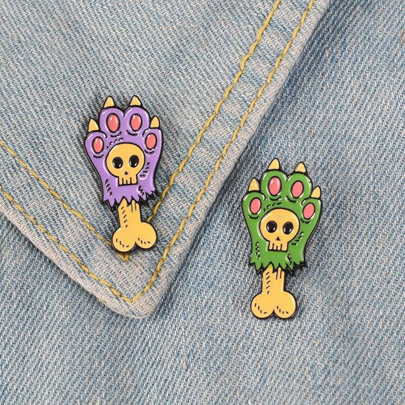 Roxo verde esqueleto garra desenhos animados broches cão gatos urso dedo do pé emblema estudantes jóias lapelas decoração esmalte pinos
