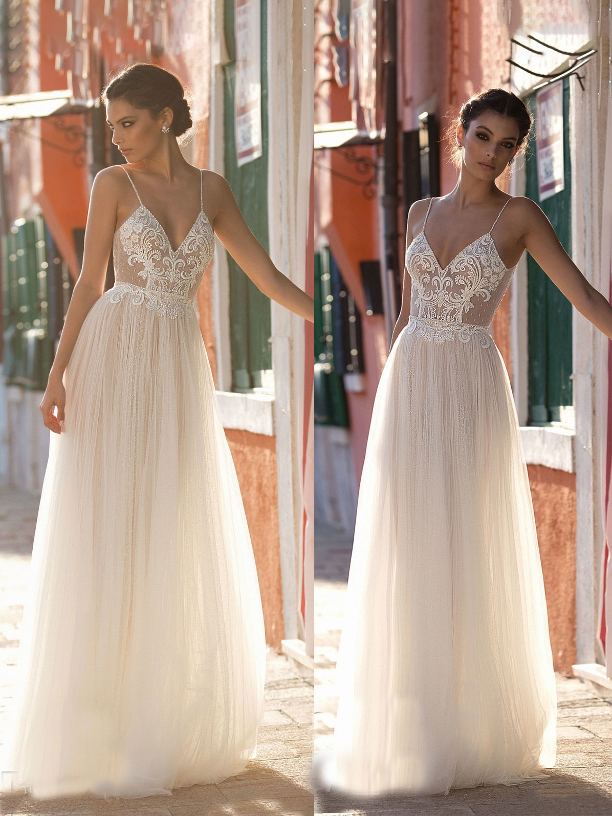 Review Beading Spaghetti Strap Wedding Dress Chic Modern A Line Polka Dots Tulle Backless Boho Beach Appliqued Bridal Gown Custom Made