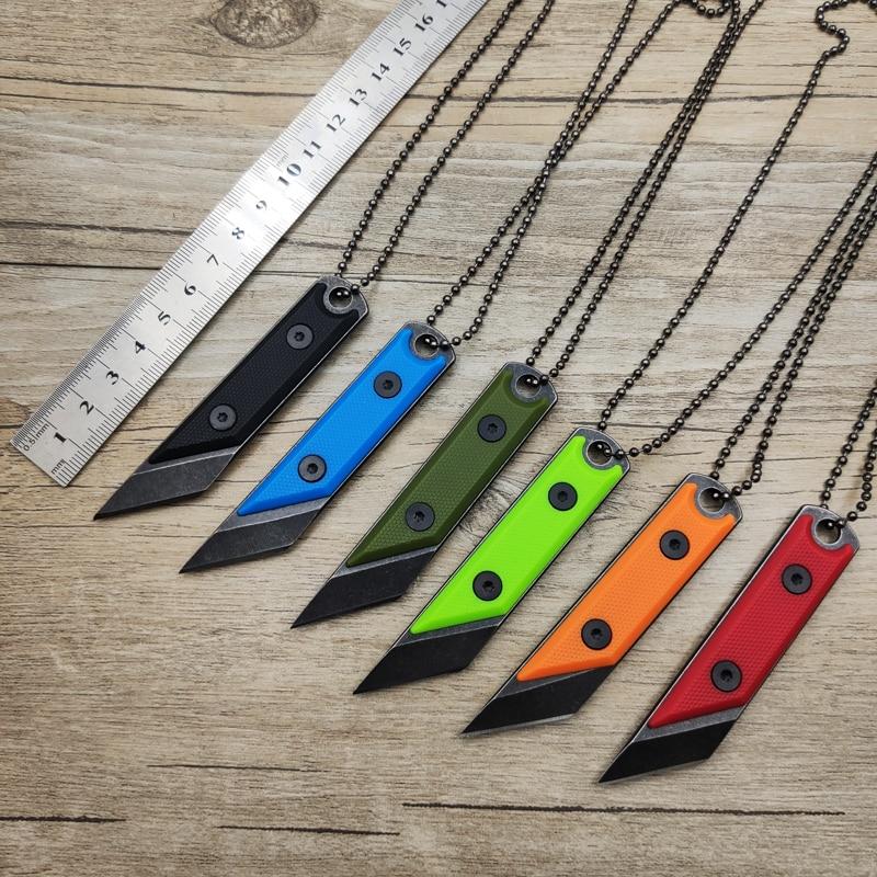 Dropship 3Cr13 cuchillo de hoja fija de acero EDC Mini Camping mango ABS de cuchillo herramientas portátiles de mano con collar y caja de cuchillo