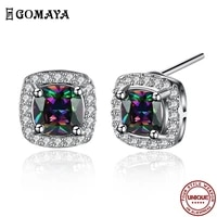 gomaya vintage stud earrings for women punk neo gothic oval color cubic zirconia earring fashion anniversary jewelry new arrival