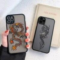 black dragon phone case for iphone 11 7 8 plus x xr xs 12pro max 6 s plus se 2020 fashion animal hard pc back cover funda shell