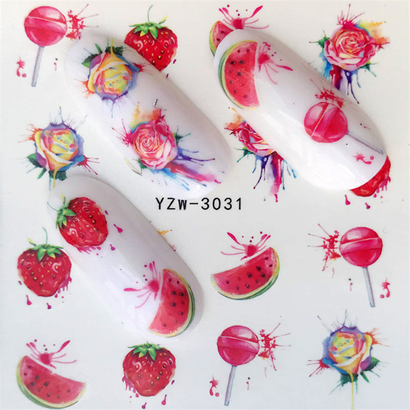 AliExpress - YZWLE 1 Sheet Water Transfer Nail Sticker Decals Fruit Watermelon/Strawberry Beauty Decoration Designs DIY Color Tattoo Tip